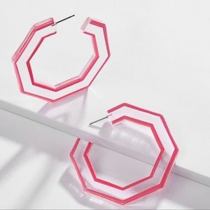 NWOT Anthro BaubleBar Hot Pink Resin Earrings